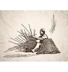 Man weaves a basket vector