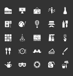 Art activity icons on gray background vector