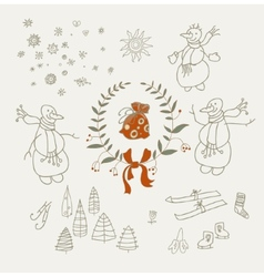 Christmas wreaths set with snowman and new year vector