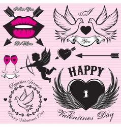 Set patterns for love cards for valentines vector