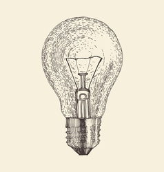 Light bulb vintage engraved vector