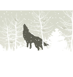 Wolf howls in winter woods vector