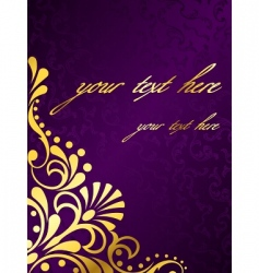 Purple background with gold filigree vector