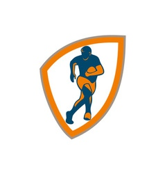 Rugby player running shield silhouette vector