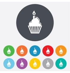 Birthday cake sign icon burning candle symbol vector
