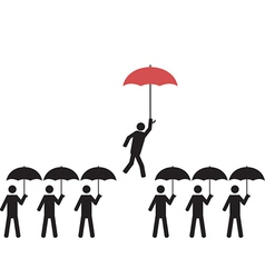 A person with red umbrella is picked vector