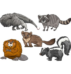 Wild animals set cartoon vector