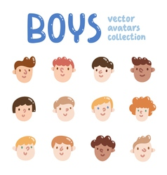 Boys colorful avatars collection vector