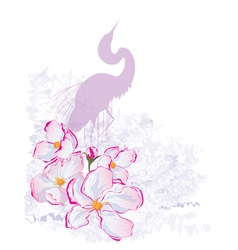 Apple flowers and heron vector