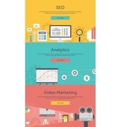 Seo optimization web analytics video marketing vector