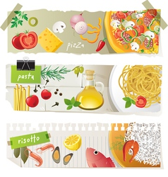 Italian cuisine dishes vector