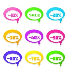 Speech bubbles set with discount message vector