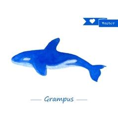 Blue grampus  handdrawn watercolor vector