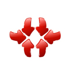 3d red arrows vector
