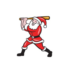 Santa baseball player batting isolated cartoon vector