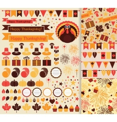 Happy thanksgiving set vector