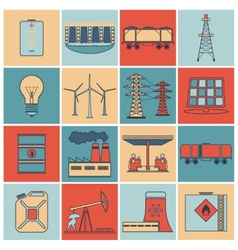 Energy icons flat line set vector