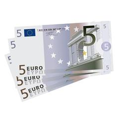Drawing of a 3x 5 euro bills vector