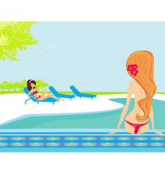 Image of girls and tropical pool vector