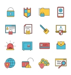 Computer security icons set line vector