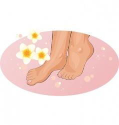 Feet with frangipani flowers vector