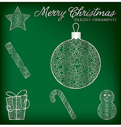 Christmas filigree ornament set in format vector