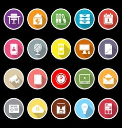Home office icons with long shadow vector