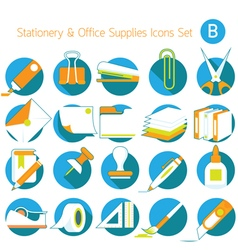 Office supplies and stationery icons set vector