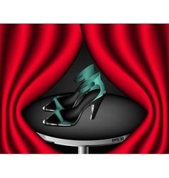 Presentation of aqua blue sandals with high heels vector