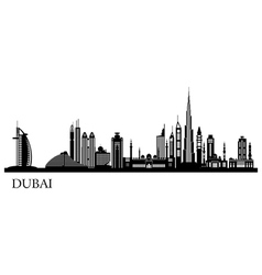 Dubai city skyline detailed silhouette vector