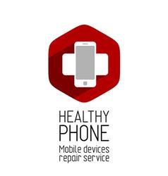 Phone repair service logo template vector