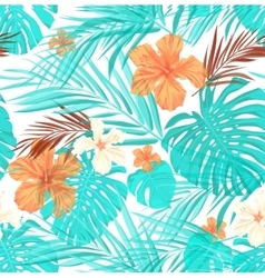 Bright seamless summer tropical pattern with palm vector