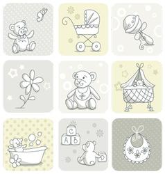 Baby card set vector
