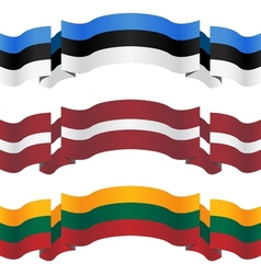 Banners and flags of baltic states vector