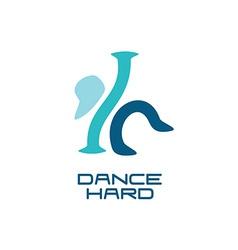 Modern dance school logo template vector
