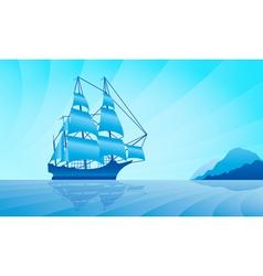 Sailing ship on skyline vector