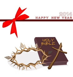 New year gift card with bible and crown of thorn vector