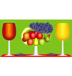 Still life of fruit and wine vector