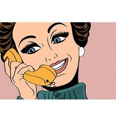 Pop art cute retro woman in comics style talking vector
