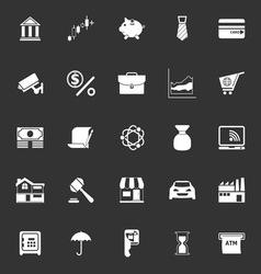 Banking and financial icons on gray background vector