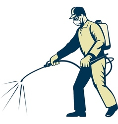 Pest control exterminator spraying side view vector