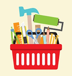 Hand tools in shopping basket vector