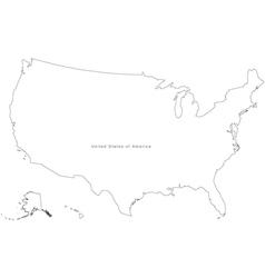 Black white usa outline map vector