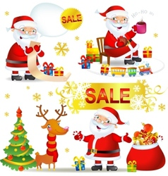 Set christmas sale with santa claus vector