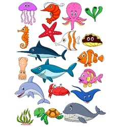 Sea life cartoon set vector