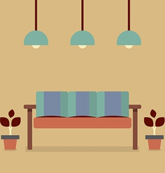 Flat design interior vintage sofa vector
