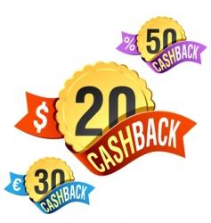 Cash back emblem vector