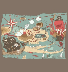 Island treasure map pirate map vector