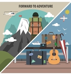 Travel hiking diagonal banner vector