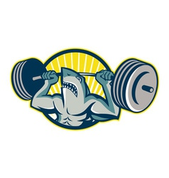 Shark weightlifter lifting barbell mascot vector
